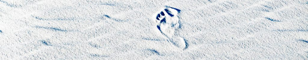 a footprint in white sand
