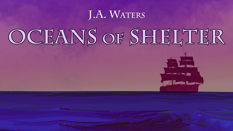 The header of the Oceans of Shelter fiction collection. A ship on the horizon of an ocean.